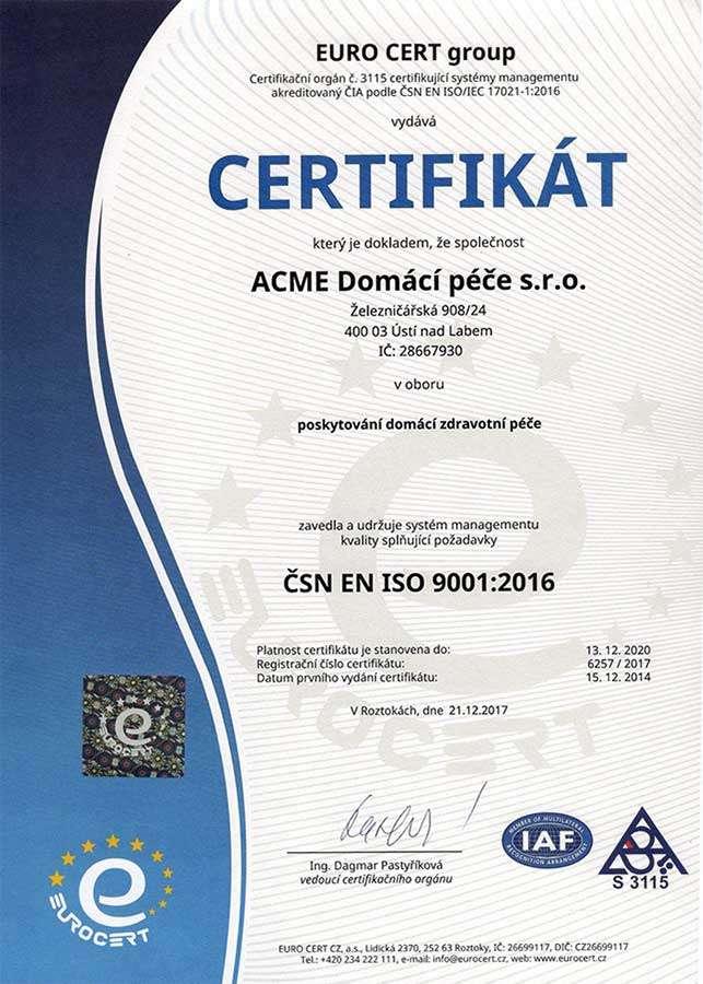 Certifikát ISO ACME Domácí péče s.r.o. poskytování domácí zdravotní péče